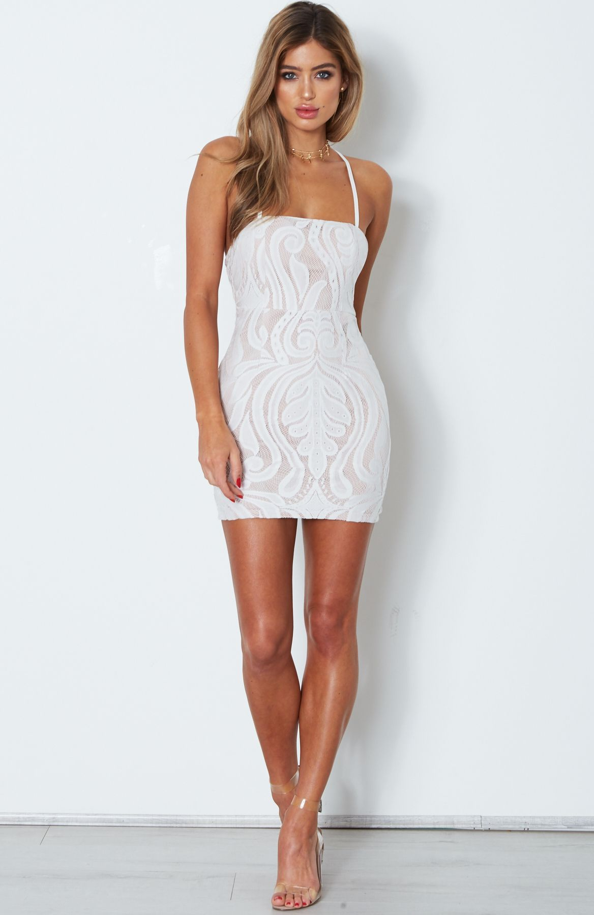 Lace me all over mini dress in white