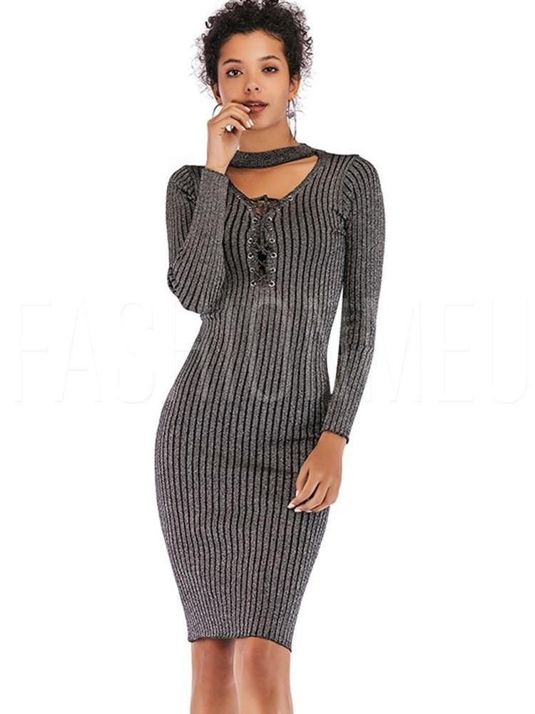 Lace-Up Long Sleeve Stretchy Women s Bodycon Dress  ecc9b79d7