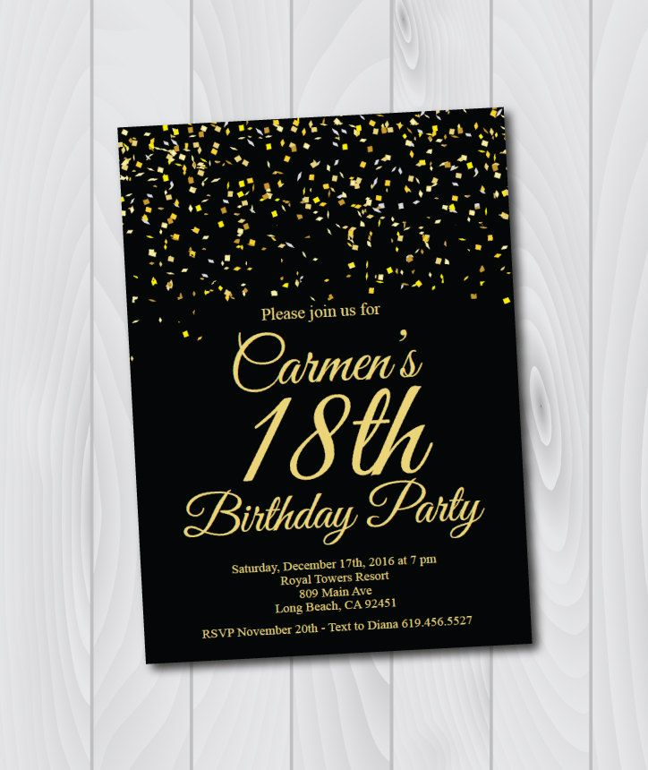 18th Birthday Invitation\/Printable Gold \ Black Birthday - downloadable birthday invitation templates