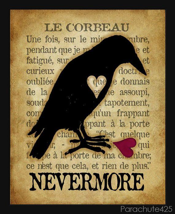 Edgar Allan Poe Le Corbeau : edgar, allan, corbeau, CORBEAU,, Raven,, Nevermore,, Edgar, Allan, Typography, Print,, French, Macabre, Raven, Halloween, Nevermore