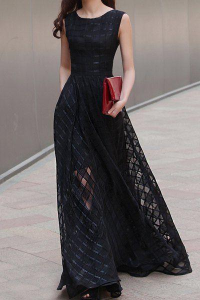 Stylish Sleeveless Scoop Neck Organza Spliced Maxi Dress For Women