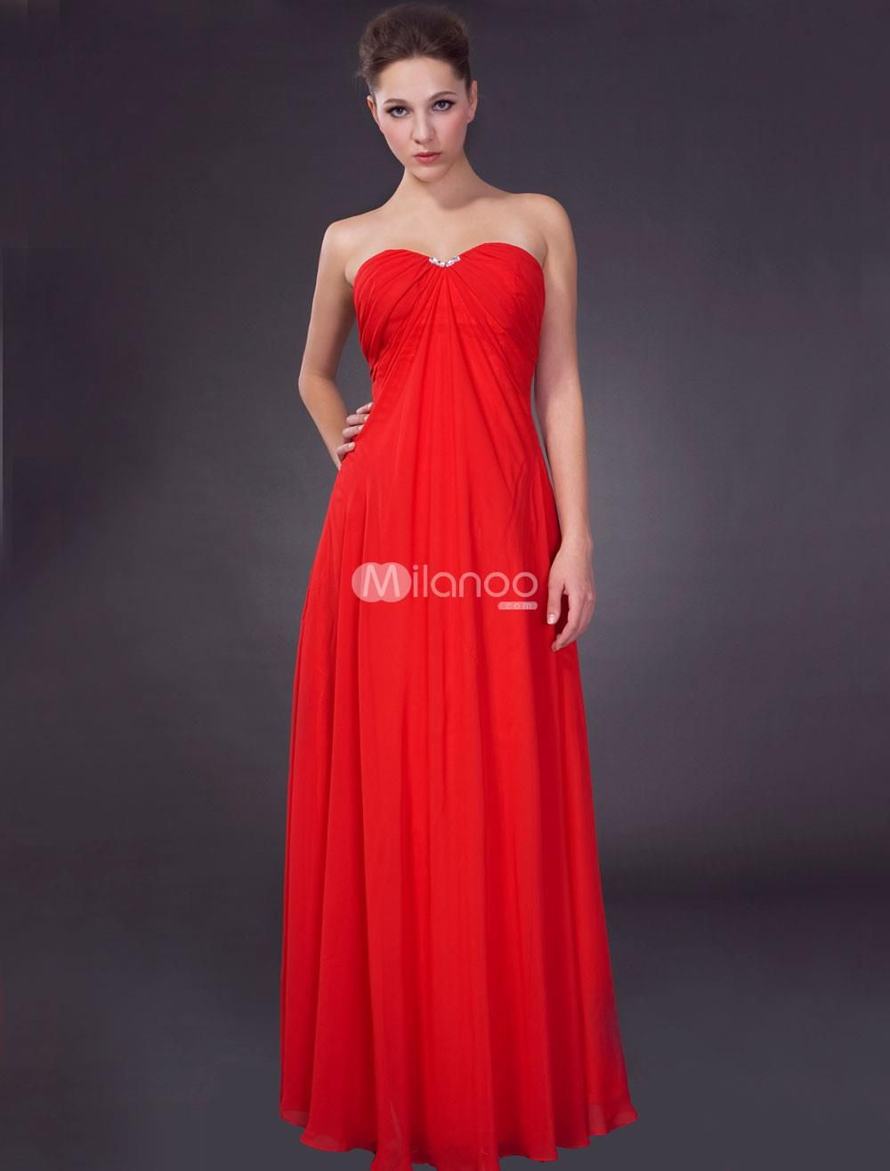Red empire waist strapless satin chiffon maxi evening gown wearing