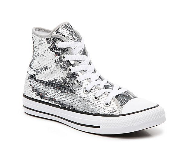 Silver Sequin Converse® High Top Sneakers Over White