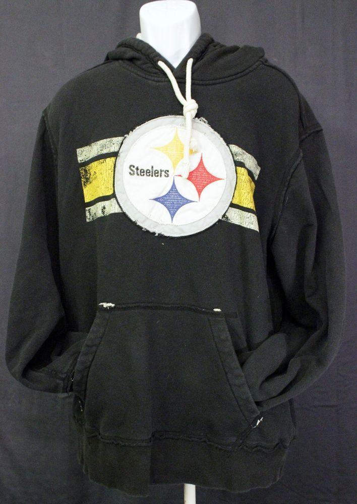 456449e0b NFL Pittsburgh Steelers Hoodie Sz XL Hooded Sweatshirt Black Yellow Vintage   NFLVintageCollection  Hoodie