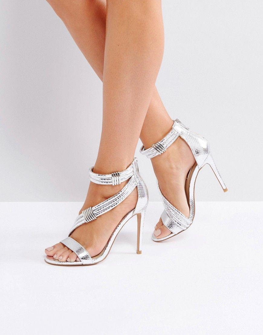 461851200ec6 FOREVER UNIQUE METALLIC CROSS STRAP HEELED SANDAL - SILVER.  foreverunique   shoes