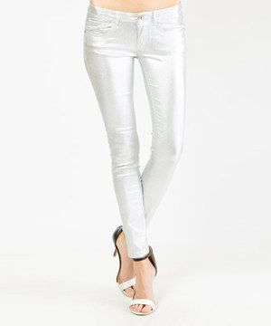 Look what I found on #zulily! Silver Metallic Low-Rise Super Skinny Pants by Machine Jeans Inc. #zulilyfinds