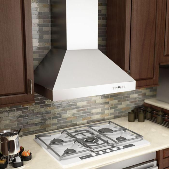 ZLINE 36 in. Professional Ducted Wall Mount Range Hood in Stainless Steel with Crown Molding, 667CRN-36