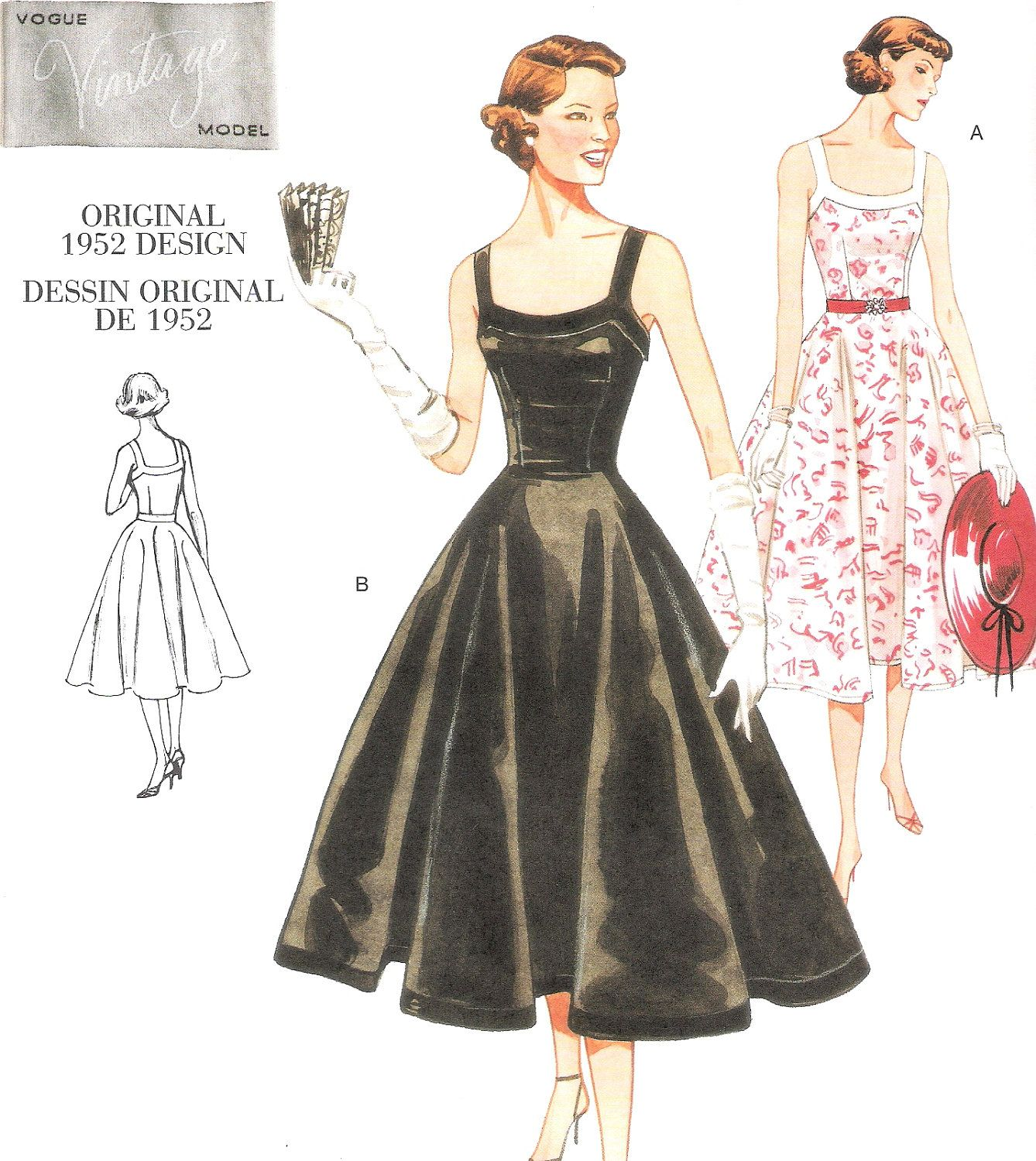 Vintage Vogue 50s Swing Dress Sewing Pattern Sizes 12 16