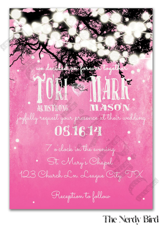 Dangling Lights On Rustic Pink Background Design Printable Wedding