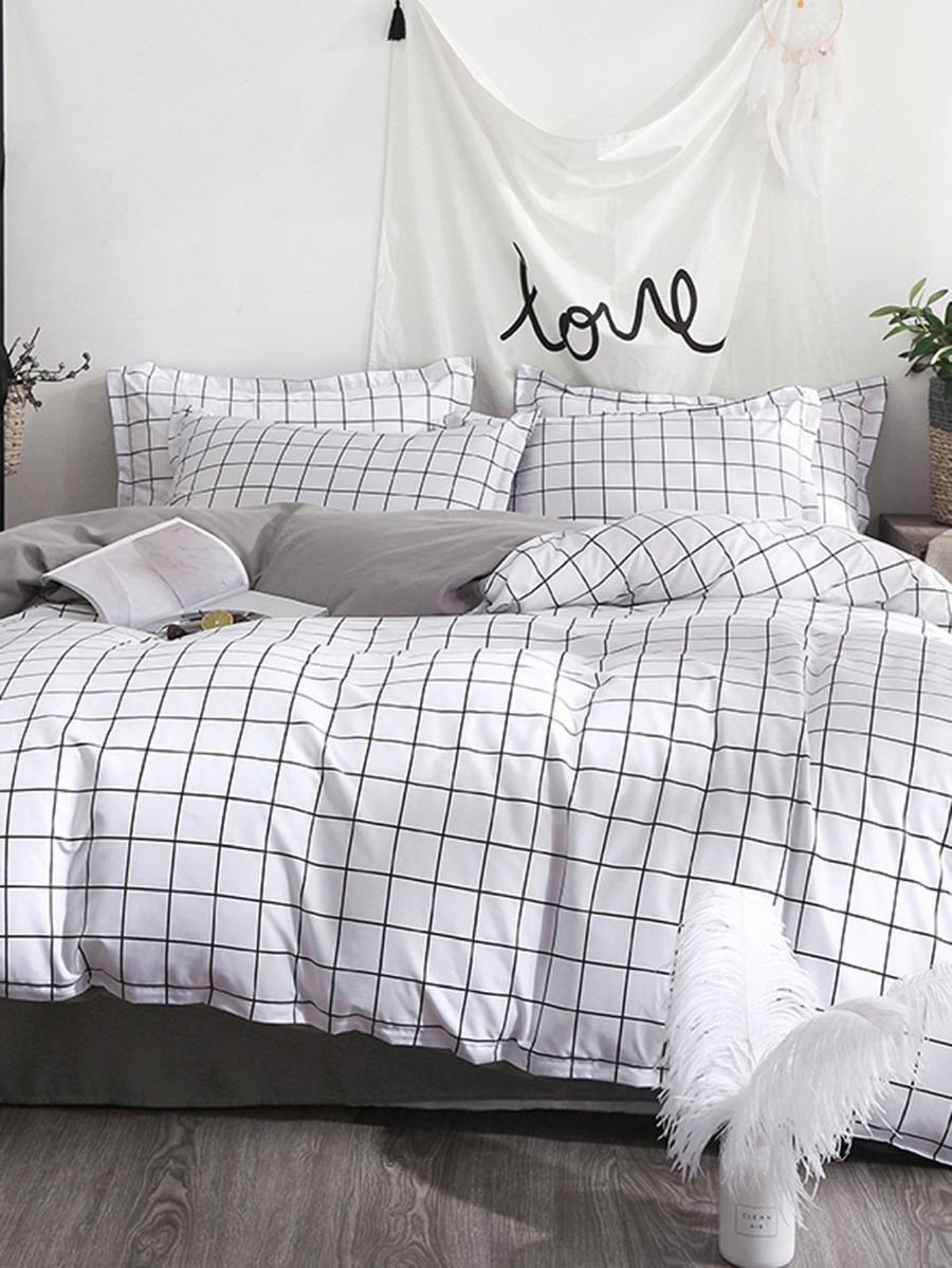 Allover Grid Print Sheet Set Shein Sheinside Bed Linens Luxury