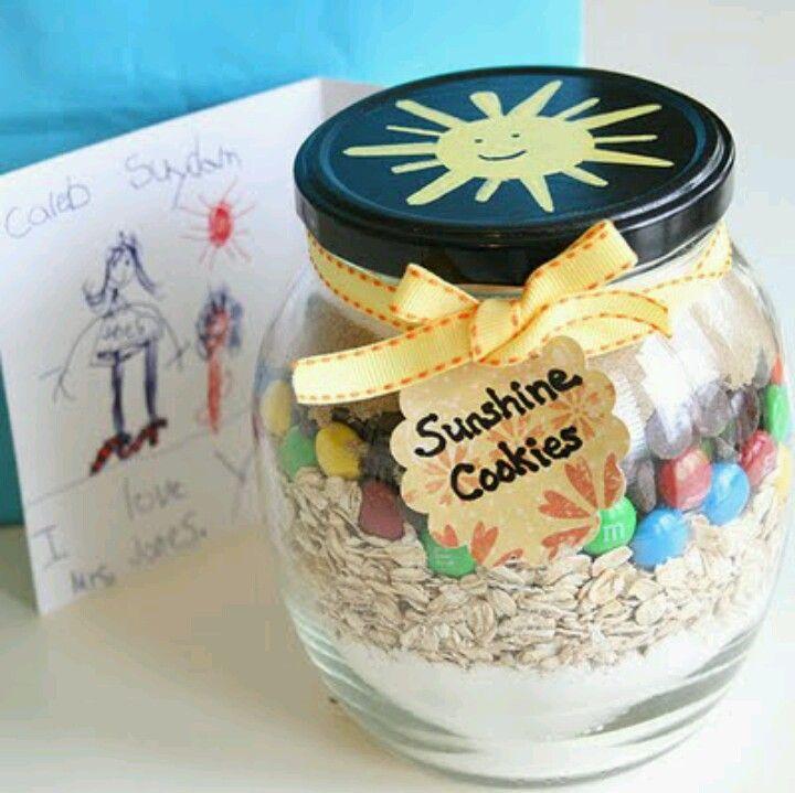 Quart sized jar... spray paint lid...  http://eatatallies.com/2011/06/cookie-mix-in-jar/