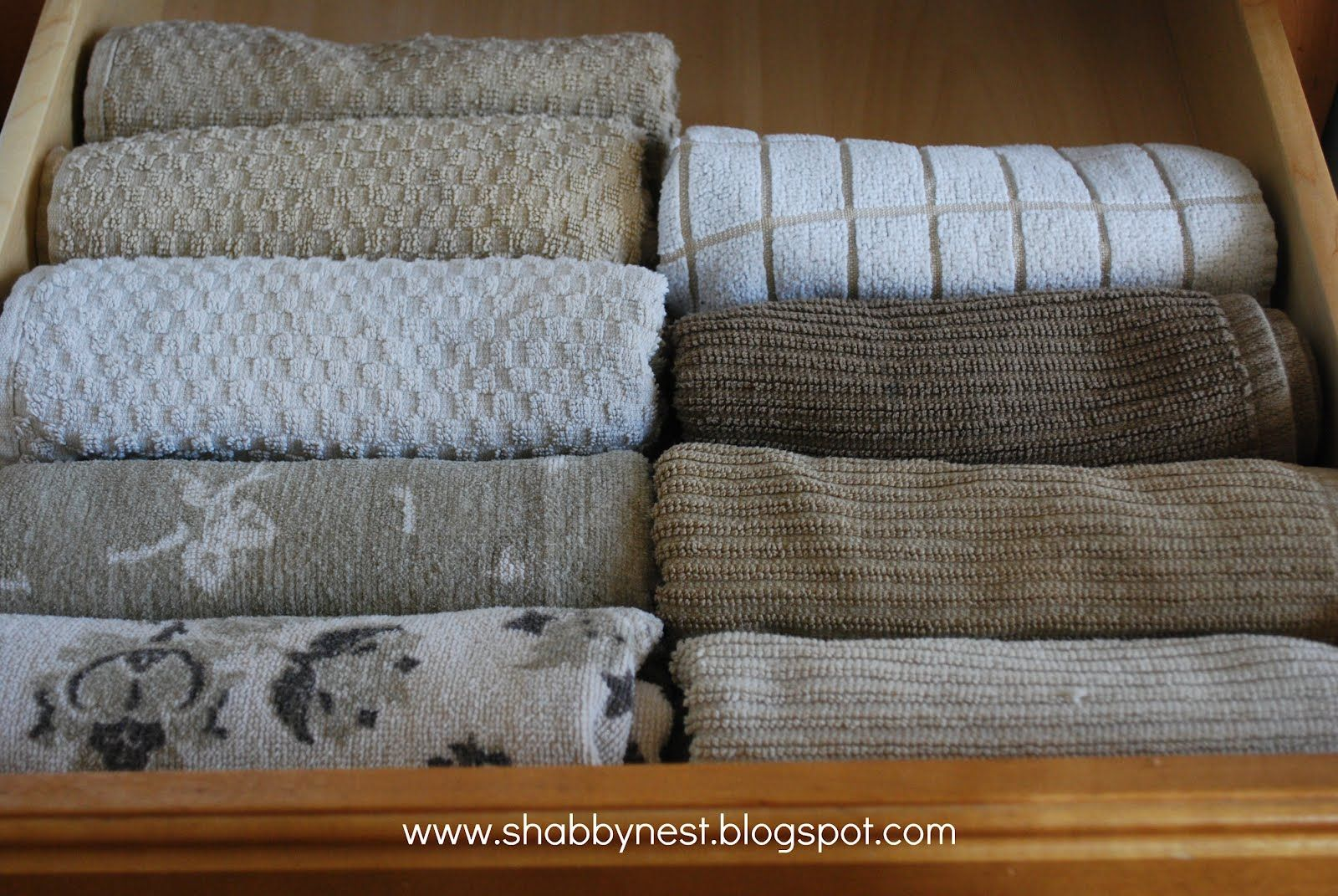 The Best Way To Kitchen Towels I Had A Professional Organizer Teach Me Do This With Everything Shirts Shorts Etc