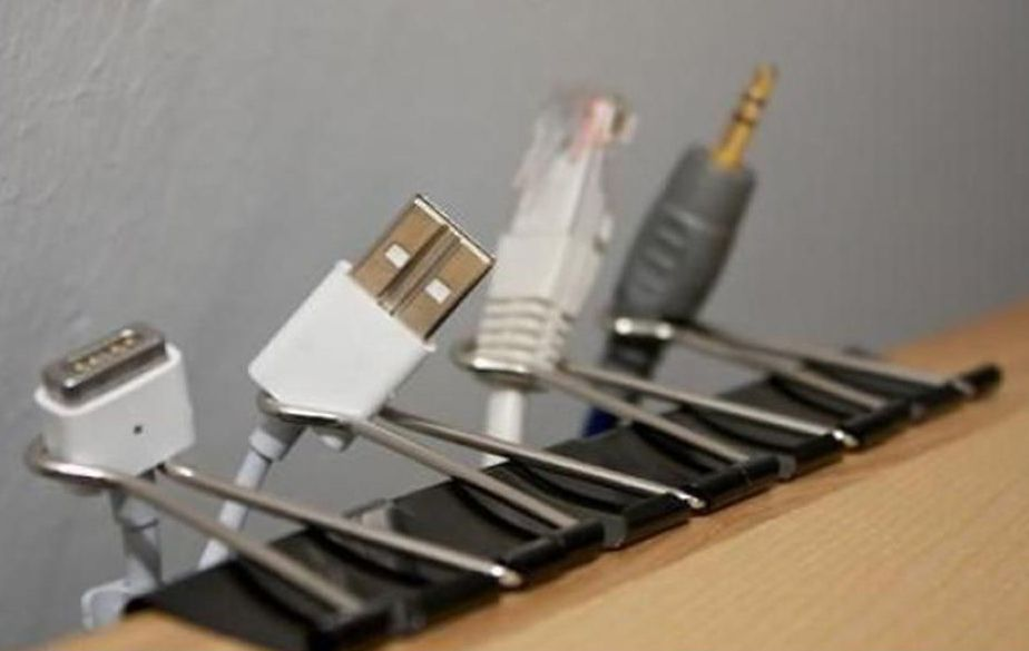 Keep your cords from falling behind the desk.