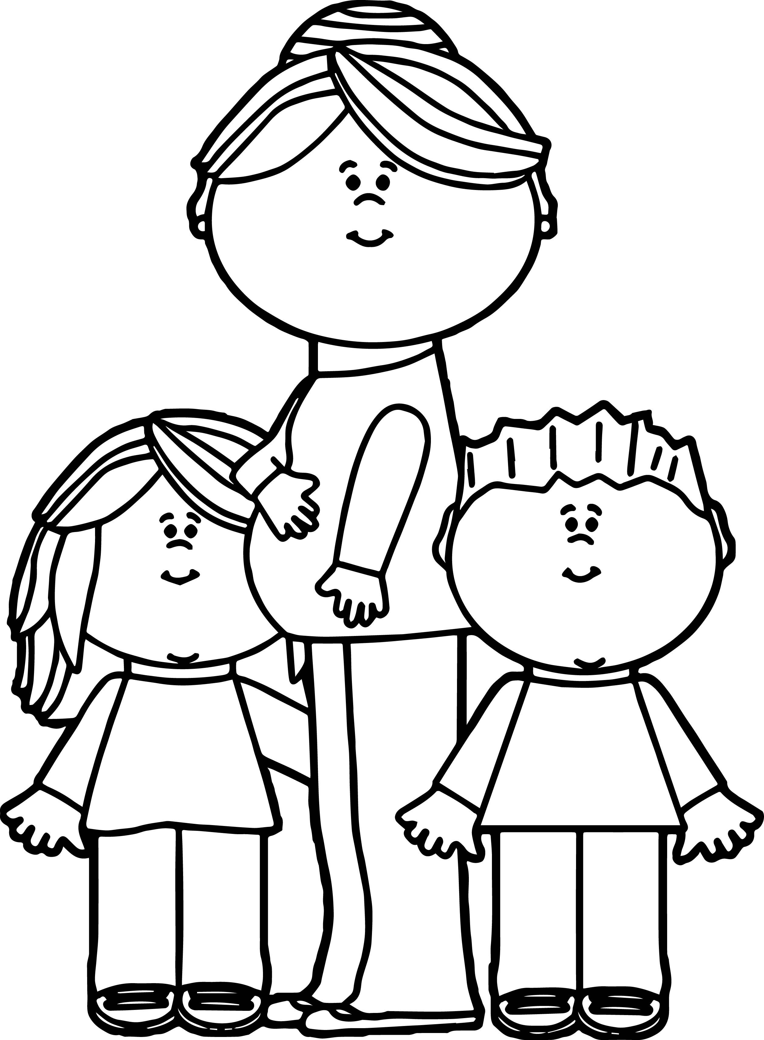 Awesome Pregnant Mom With Kids Coloring Page Coloring Pages For Kids Coloring Pages Family Coloring