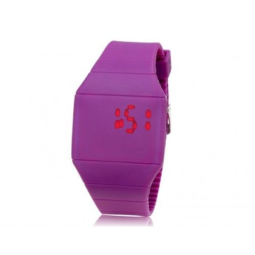 Purple Special Design Square Dial Plastic Touch Screen LED Wrist Watch