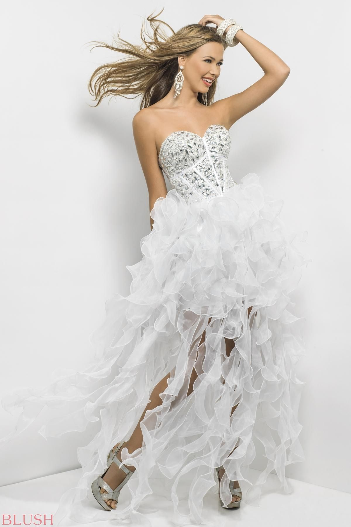 Sexy prom dress with ruffle power chunky silver stones and satin