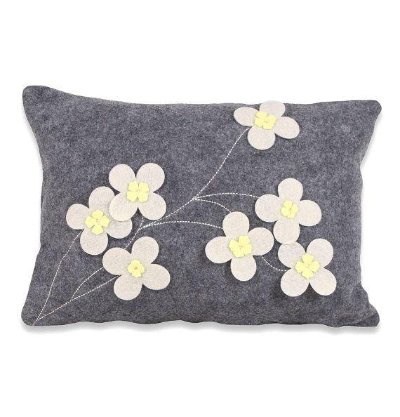 Dogwood Felt Pillow Cover by ekofabrik on Etsy, $75.00