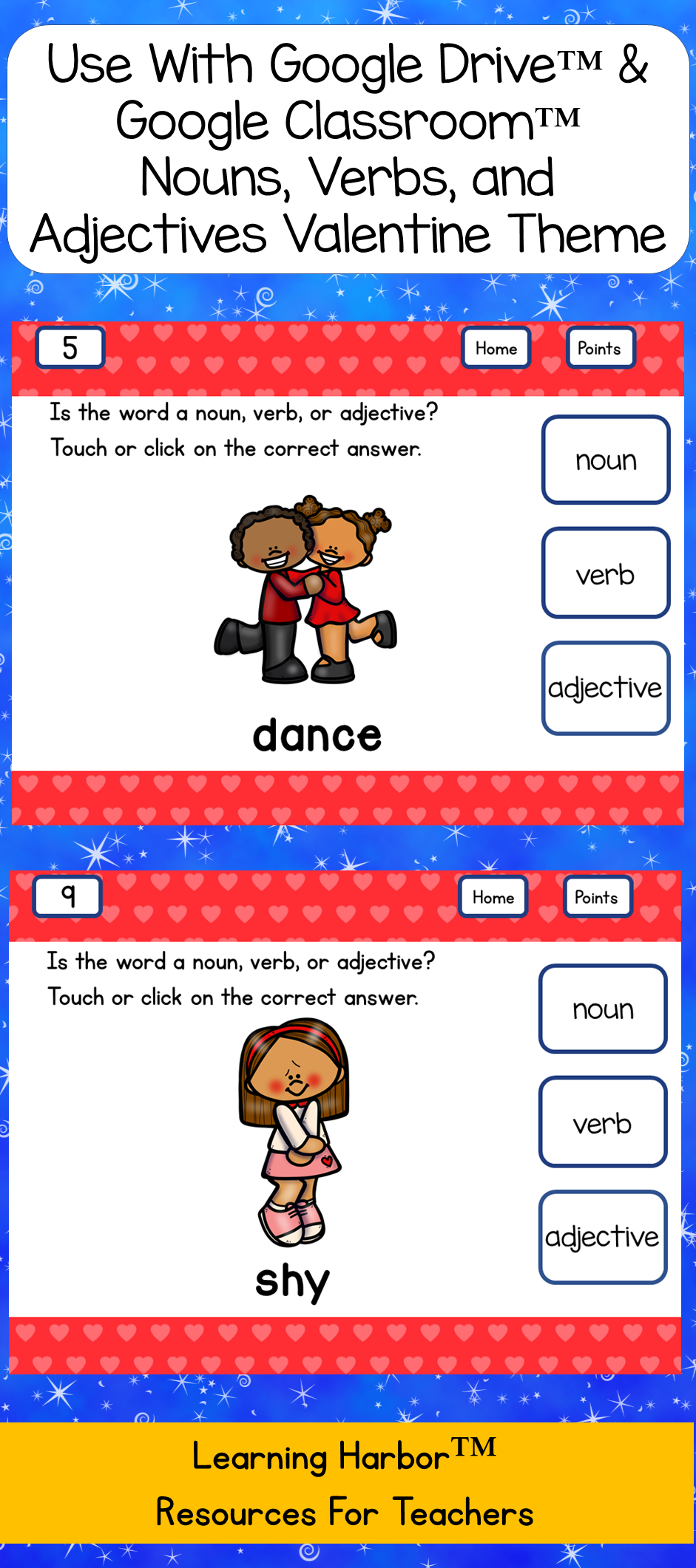 nouns verbs and adjectives valentine 39 s day use with google classroom amazing holiday. Black Bedroom Furniture Sets. Home Design Ideas