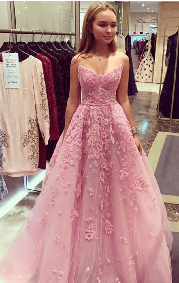 Charming Prom Dress,Long Homecoming Dress, Appliques Tulle Prom ...