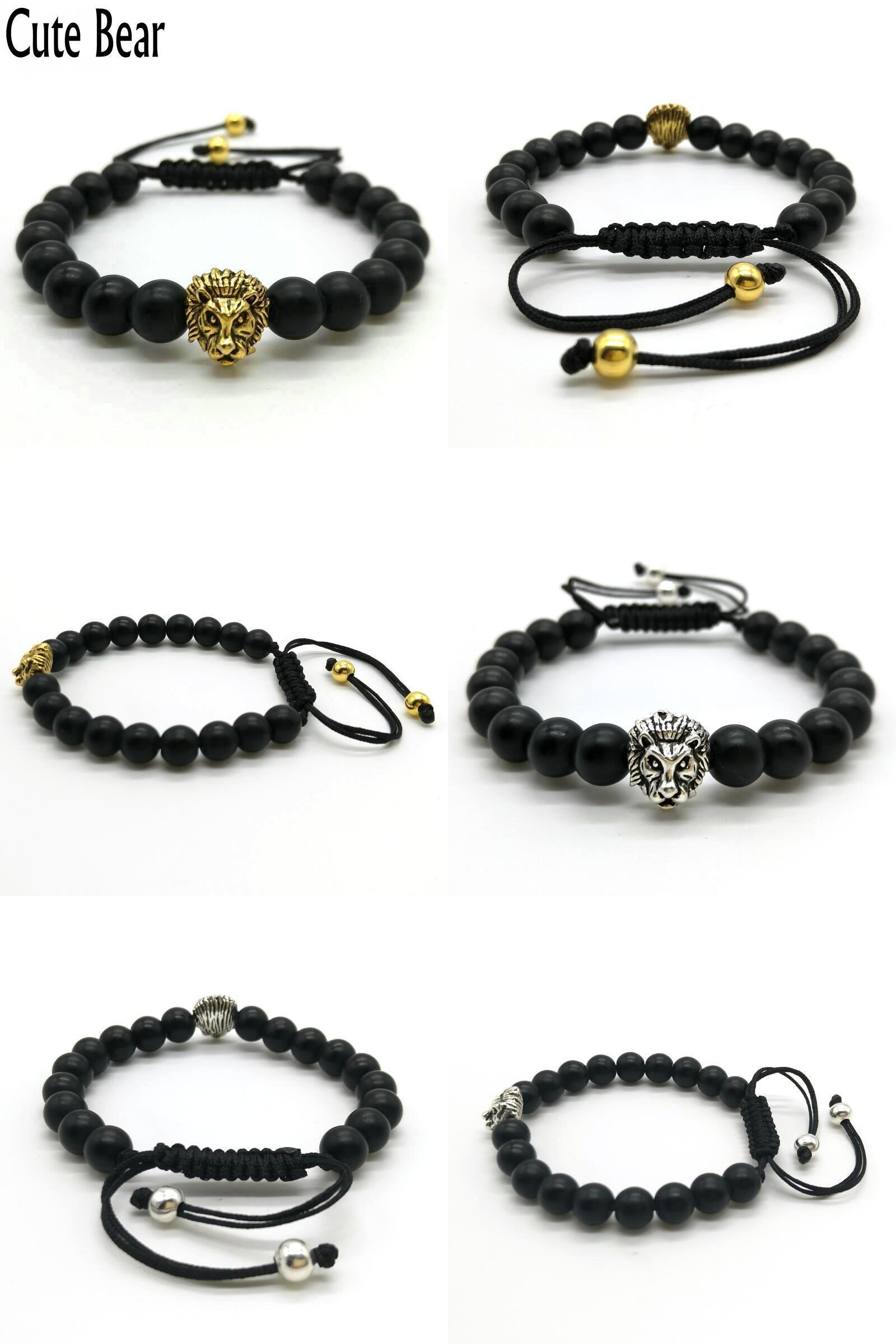 Visit to buy cute bear brand antique gold animal lion head bracelet