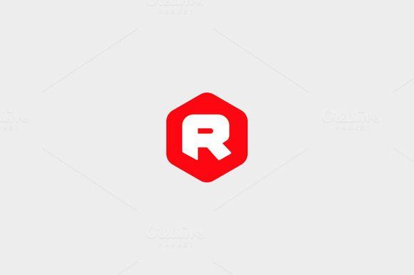 abstract letter r hexagon logoiamguru on @creativemarket
