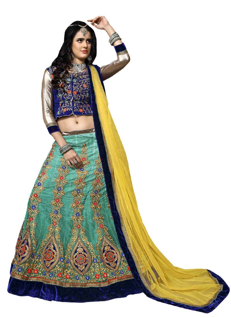 5c440c888b This Blue colored Lehenga in Net fabric goes well with any occasion. Shop  online Designer Lehenga from cbazaar at the lowest price.