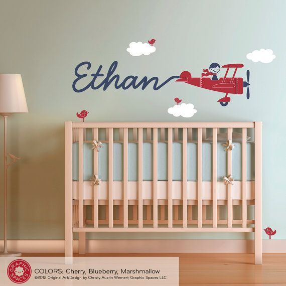 Airplane Wall Decal Boy Name Skywriter for Baby Nursery Kids Playroom Personalized Cute Cursive