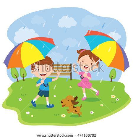Umbrellas Quenalbertini Children With Multicolored Umbrellas Enjoy Rainy Day Umbrella Vector Umbrella Vector Illustration
