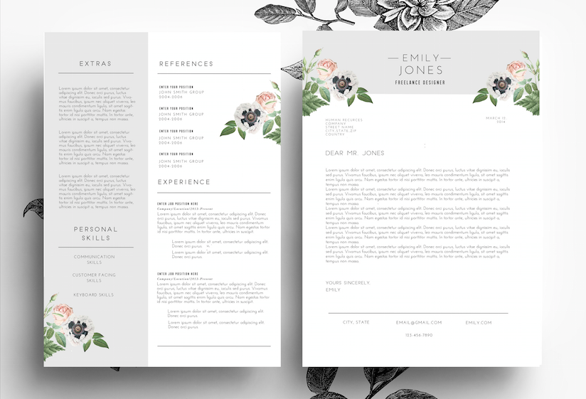 How To Create A Cover Letter Professiona Cvcover Letterpsdwordemily's Art Boutique On .