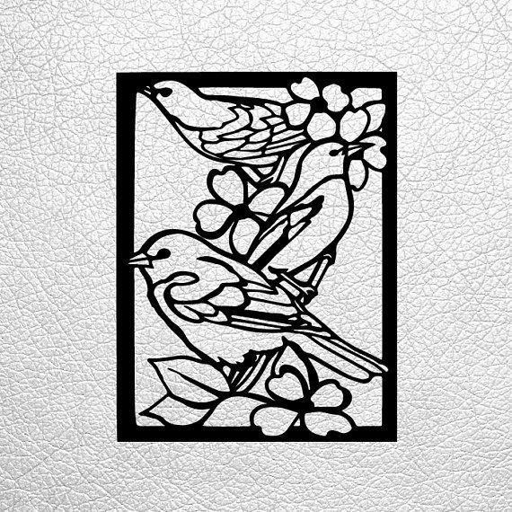 SVG / PDF cut file, Paper Cutting Template, birds, papercut, diy ...