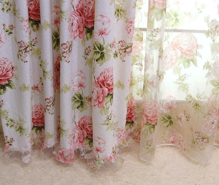 french country curtains |  french country cottage rose floral