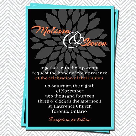 Printable Wedding Invitation Tiffany Blue Coral Black Flower