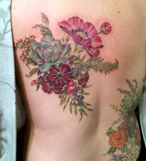 Floral Bouquet Back Tattoo: Finished This Arrangement Yesterday
