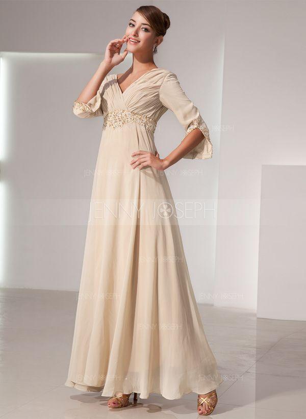 Empire-Linie V-Ausschnitt Bodenlang Chiffon Kleid für die Brautmutter mit Rüschen Perlen verziert (008014434)