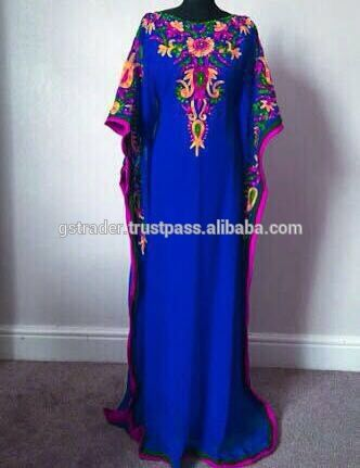 New Modern Hot Design Decorative Blue Colour Kaftan New Arrival