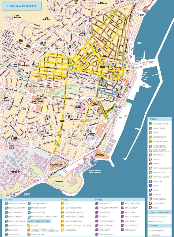Santa Cruz de Tenerife tourist map Maps Pinterest Tenerife