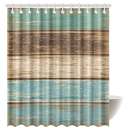 InterestPrint Antique Old Planks American Style Western Rustic Wooden Fabric Bathroom Shower Curtain 72 X 84