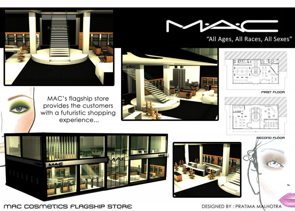 Pratima39s mac cosmetics flagship store presentation for Interior design presentation styles