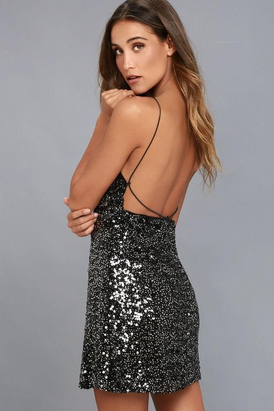 fae14bf8f9361 #Lulus - #Lulus Force of Fashion Black Backless Sequin Mini Dress -  AdoreWe.com