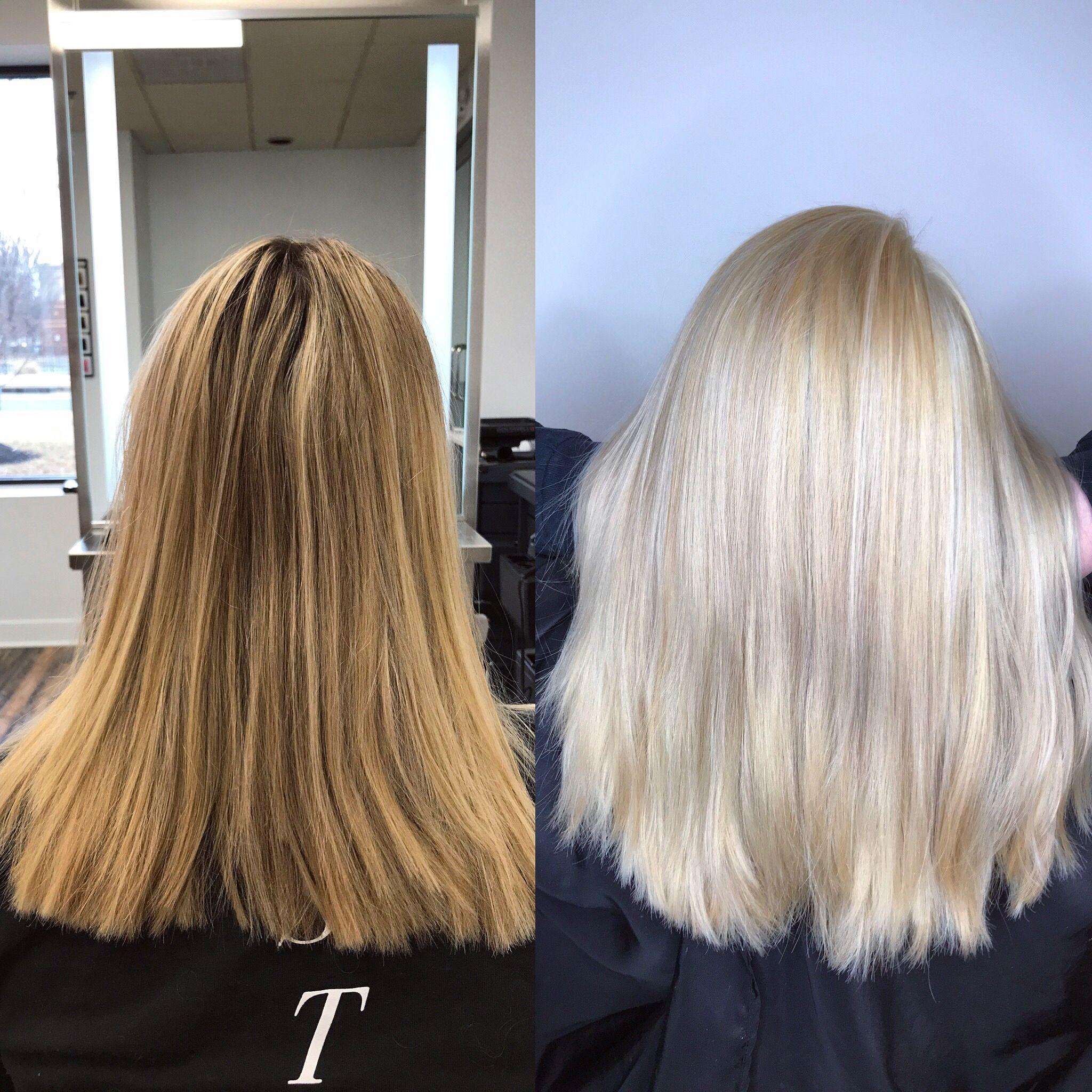 Before And After Blonde Bleach Out And Tone Used Fanola No Yellow Shampoo Full Highlight Balayage Follow Me At Balayage Hair Hair Videos Balayage Hair Dark