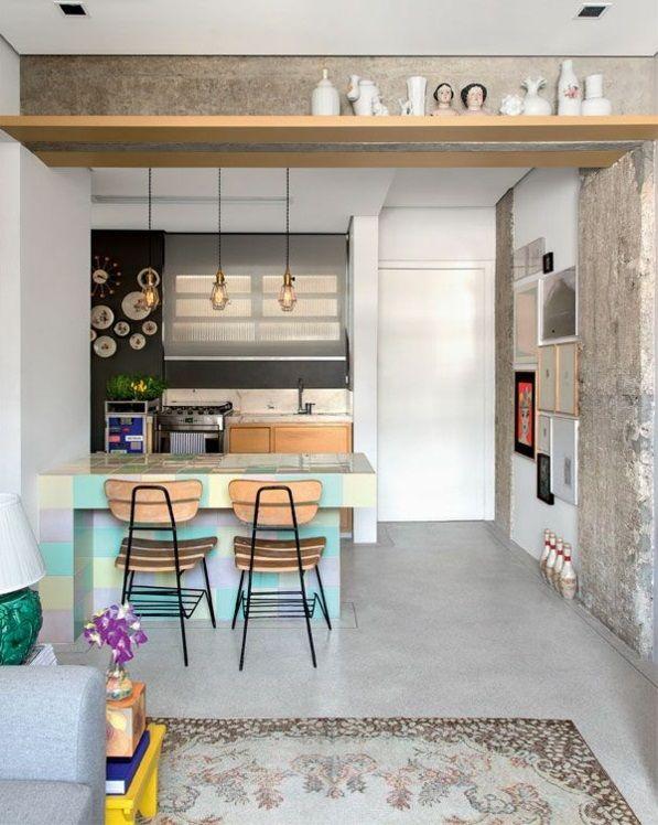 Holz Regale Offen Kleine Wohnung Einrichten Tipps Beton