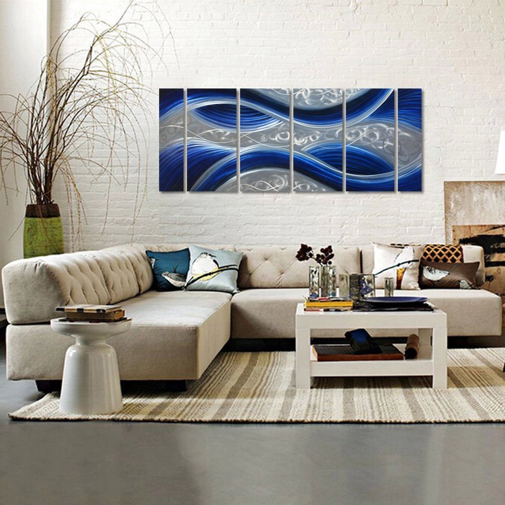Handcrafted abstract metal wall art with soft color large scale