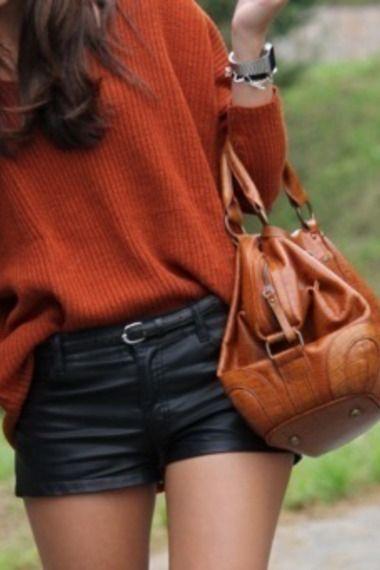 orange oversize sweater & leather shorts
