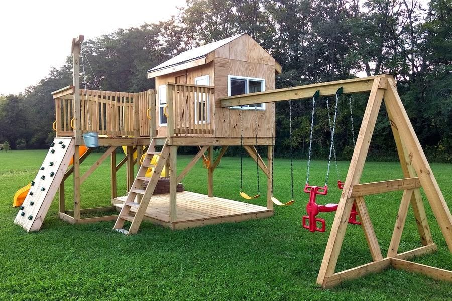 Playground Playhouse Plan (2‑Sizes) in 2020   Play houses ...