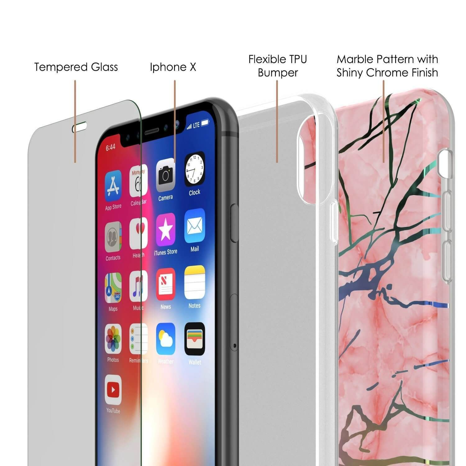 Iphone X Marble Case Protective Full Body Cover W 9h Tempered