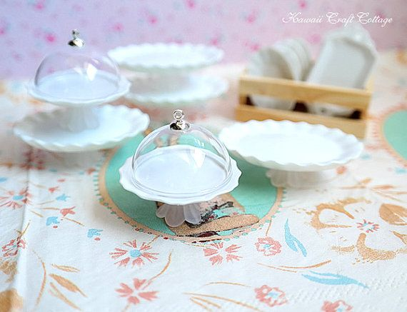 Dollhouse Miniature Cake Stand With Dome Lid 1:12 Dining Kitchen Accessory