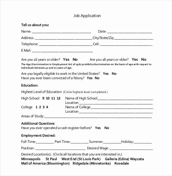 30 Employment Application Form Template In 2020