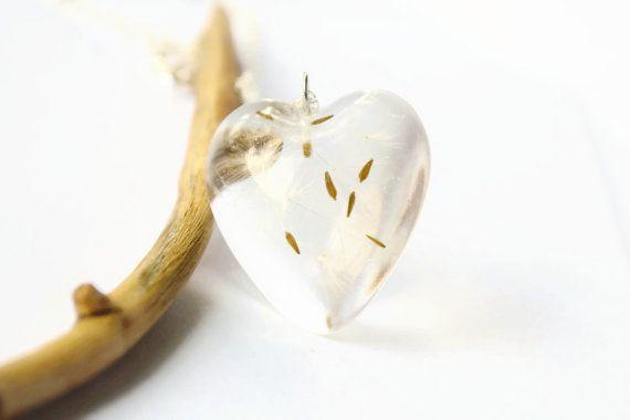 Real dandelion heart necklace dandelion by NThandmadeJewelry