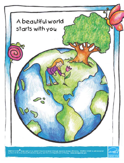 A Beautiful World Starts With You This Activity Book Helps Kids Learn About Energy Saving Techniques In Earth Day Posters Earth Day Drawing Save Earth Drawing