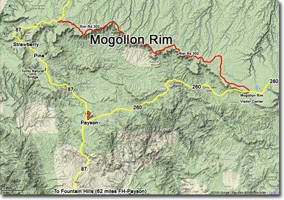 Mogollon Rim Az Rim Road 300 In Red Is A Beautiful Drive Along